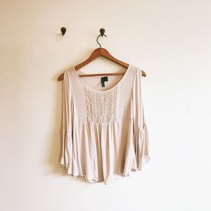 🌈 Light Pink Babydoll Top Blouse Long Sleeve S